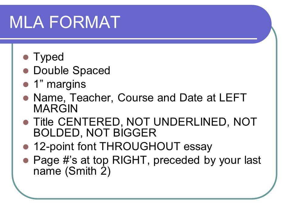 mla essay format