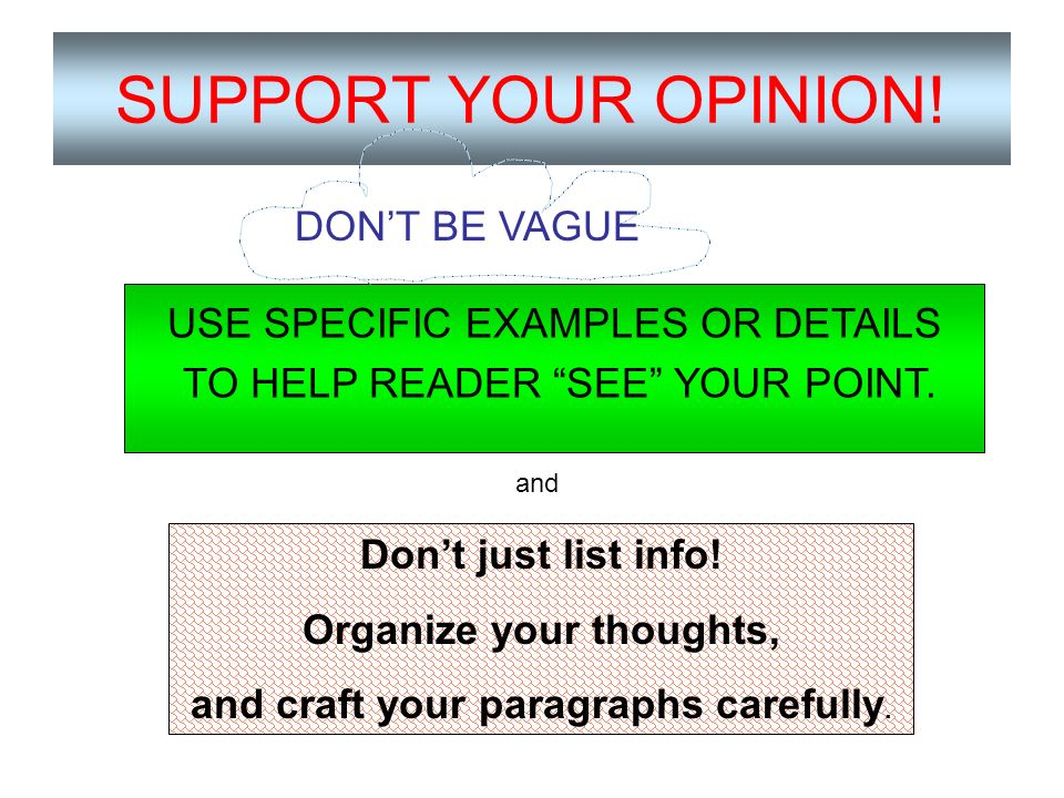 Organize your thoughts, and craft your paragraphs carefully.