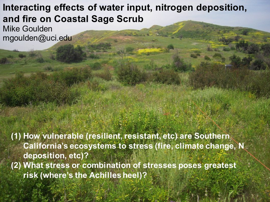 Interacting effects of water input, nitrogen deposition, and fire on Coastal Sage Scrub