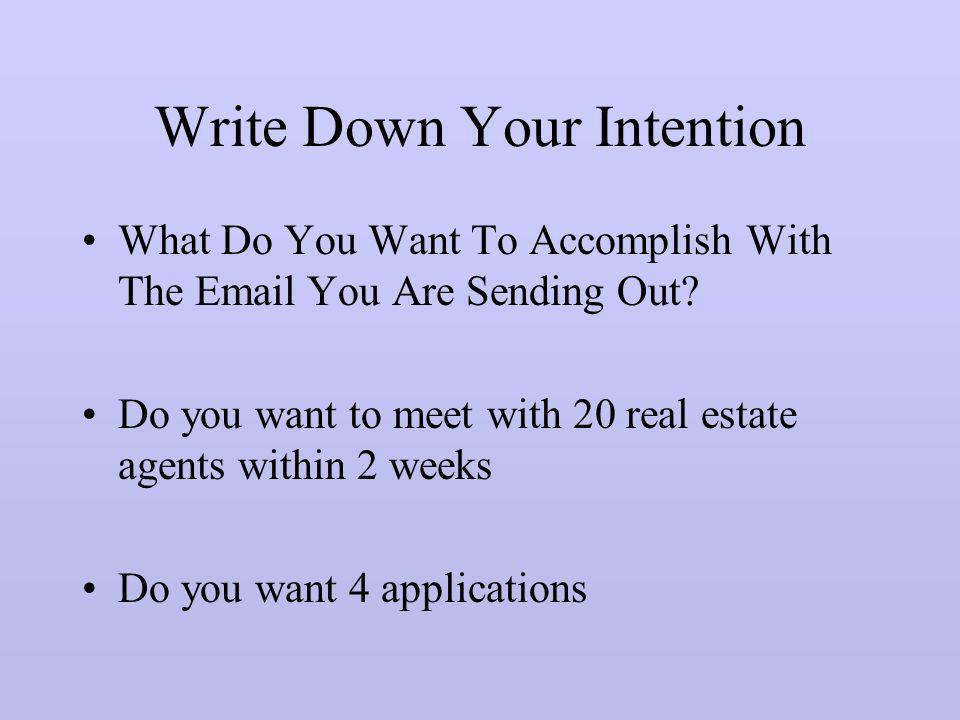 Write Down Your Intention