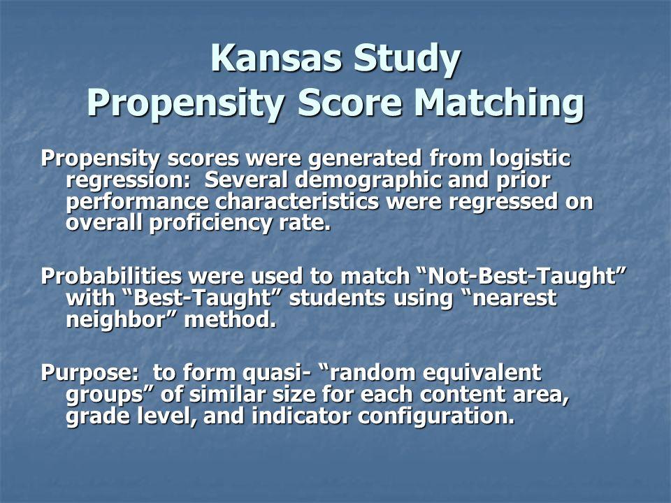 Kansas Study Propensity Score Matching