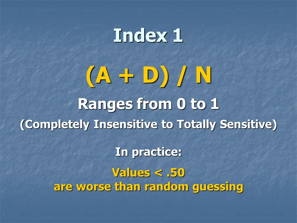 (A + D) / N Index 1 Ranges from 0 to 1