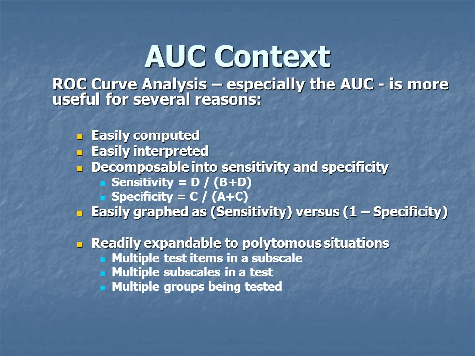 AUC Context ROC Curve Analysis – especially the AUC - is more useful for several reasons: Easily computed.
