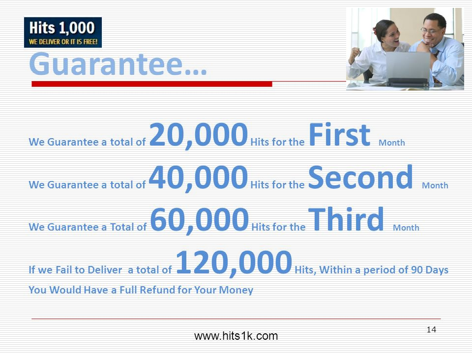 Guarantee… We Guarantee a total of 20,000 Hits for the First Month