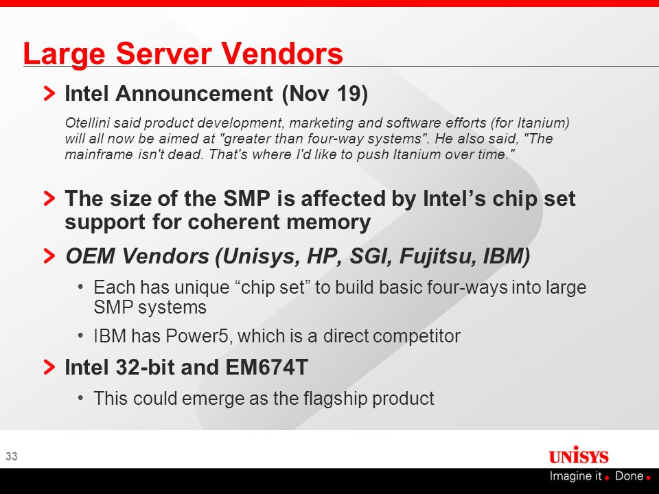 Large Server Vendors Intel Announcement (Nov 19)