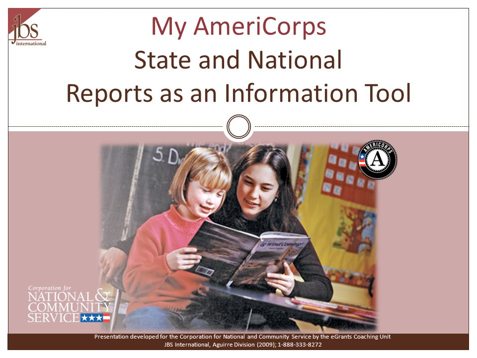 My AmeriCorps State and National Reports as an Information Tool