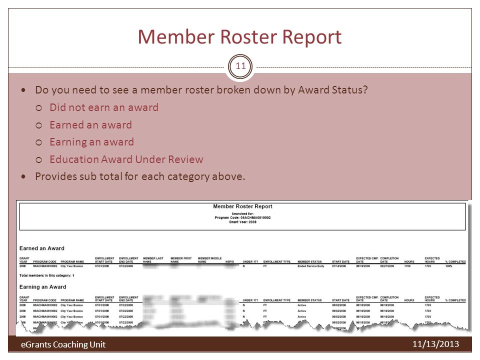 Member Roster Report Do you need to see a member roster broken down by Award Status Did not earn an award.