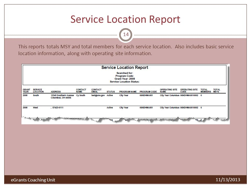 Service Location Report