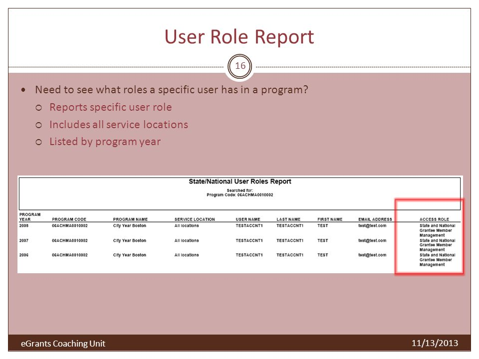 User Role Report Need to see what roles a specific user has in a program Reports specific user role.
