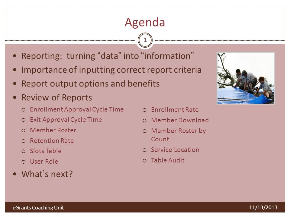 Agenda Reporting: turning data into information