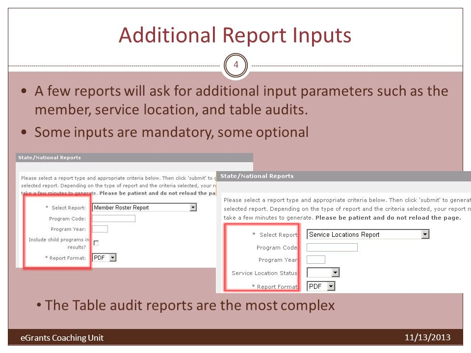Additional Report Inputs