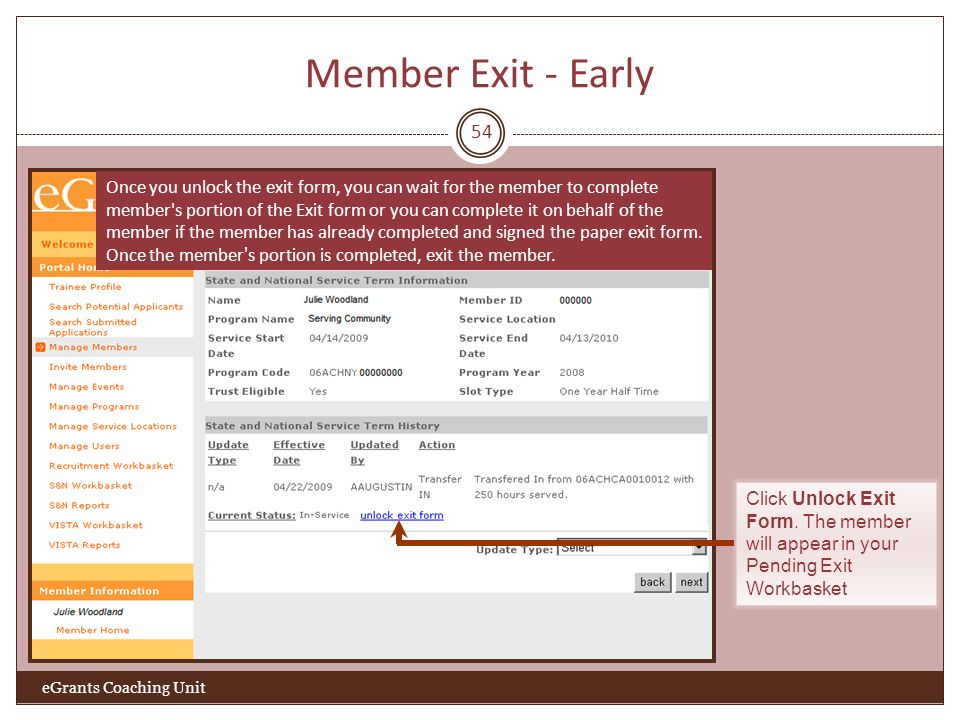Member Exit - Early 54.