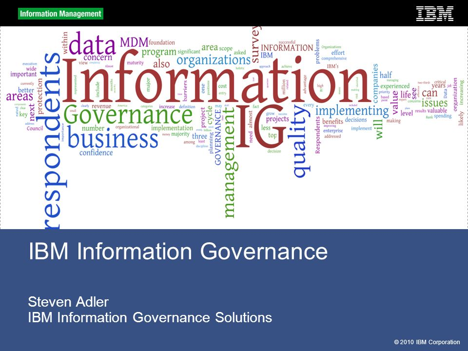 Steven Adler IBM Information Governance Solutions