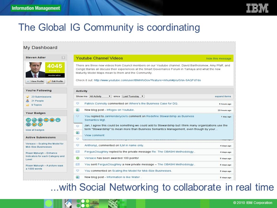 The Global IG Community is coordinating