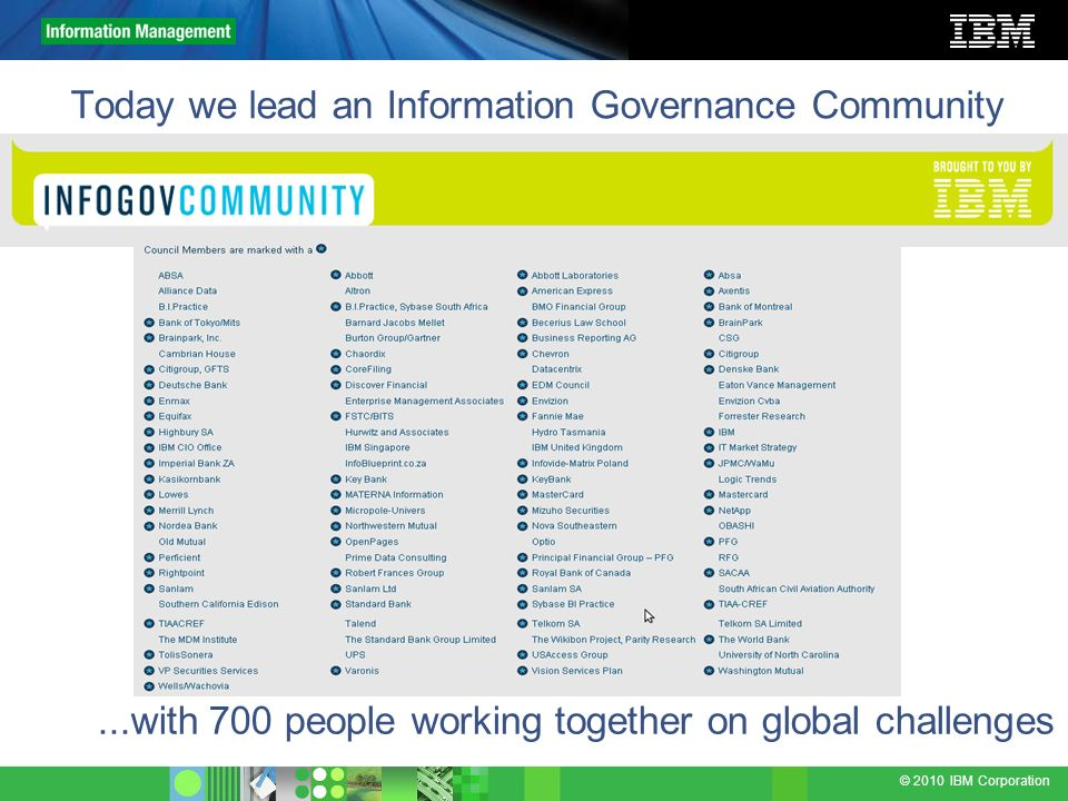 Today we lead an Information Governance Community