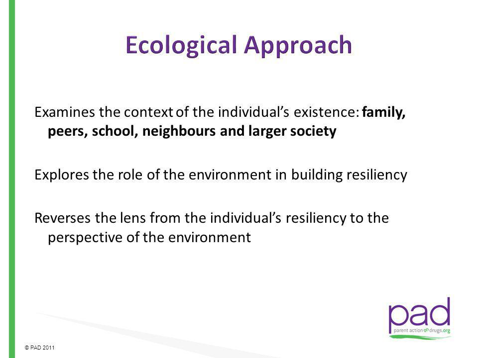 Ecological Approach Examines the context of the individual's existence: family, peers, school, neighbours and larger society.