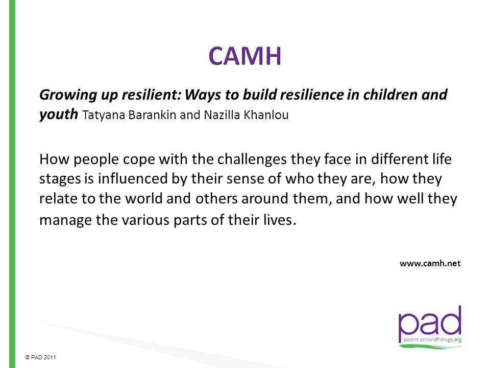 CAMH Growing up resilient: Ways to build resilience in children and youth Tatyana Barankin and Nazilla Khanlou.