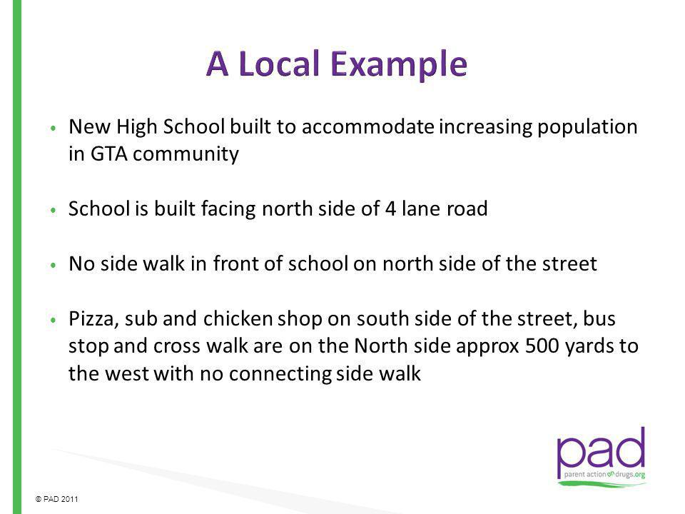 A Local Example New High School built to accommodate increasing population in GTA community. School is built facing north side of 4 lane road.