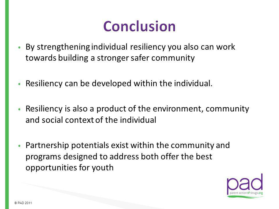 Conclusion By strengthening individual resiliency you also can work towards building a stronger safer community.