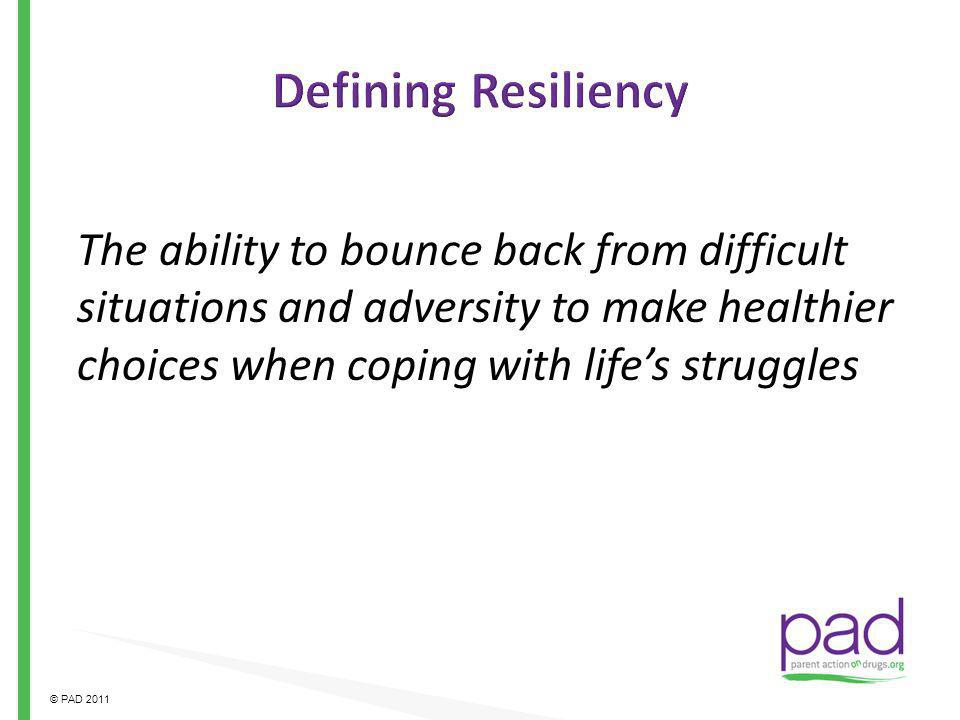 Defining Resiliency The ability to bounce back from difficult situations and adversity to make healthier choices when coping with life's struggles.