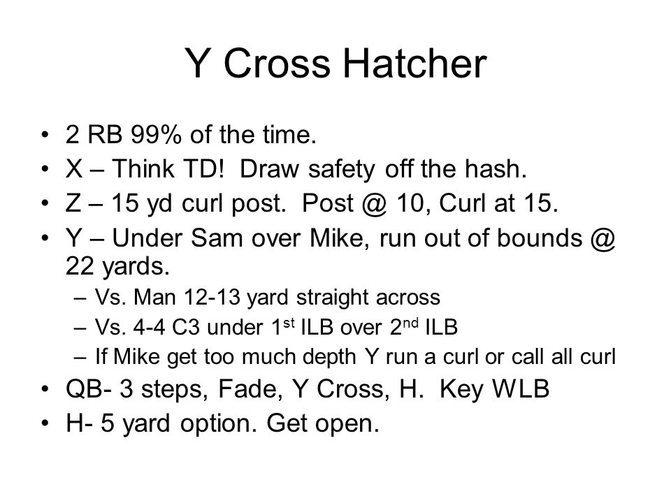 Y Cross Hatcher 2 RB 99% of the time.