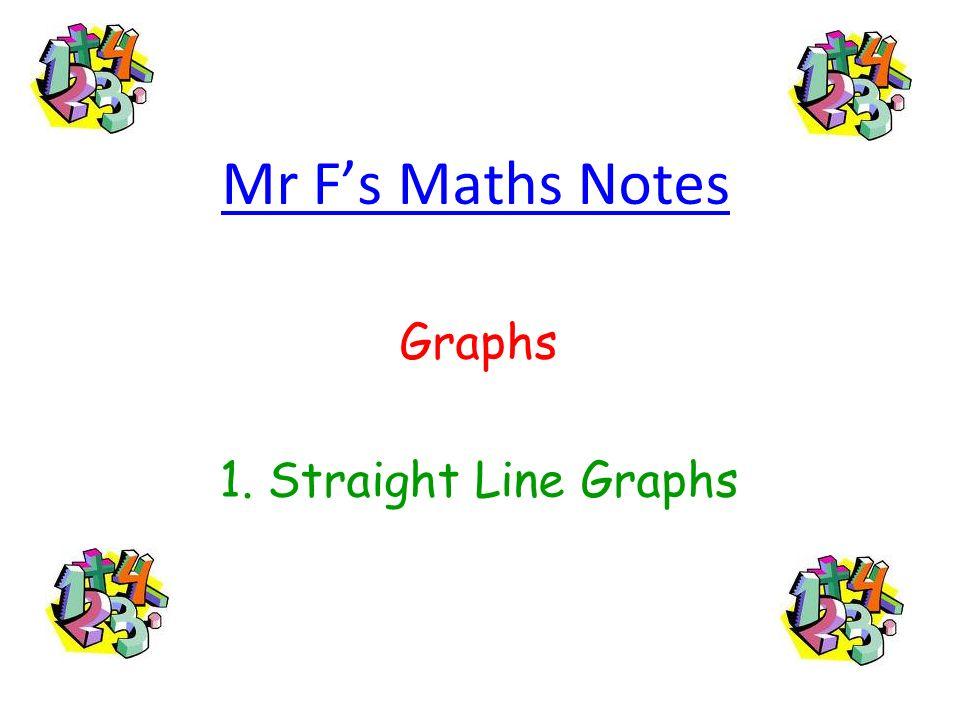 Graphs 1. Straight Line Graphs
