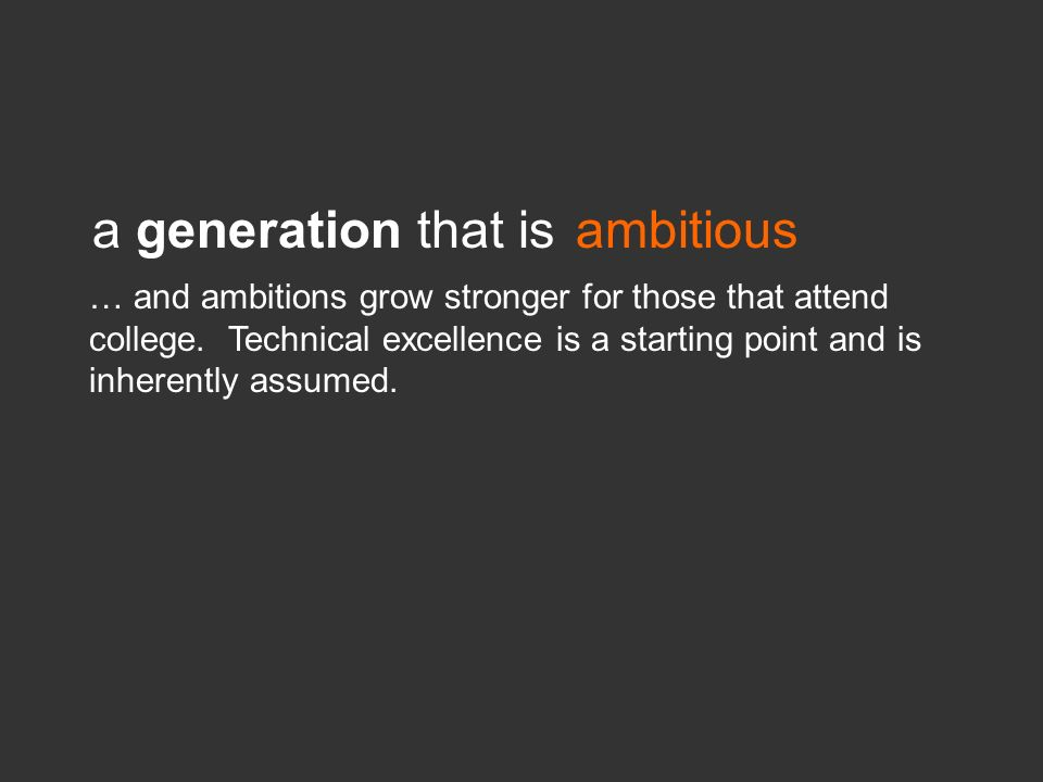 a generation that is ambitious