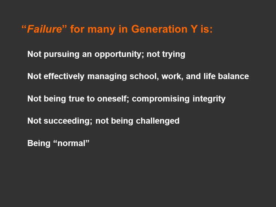 Failure for many in Generation Y is: