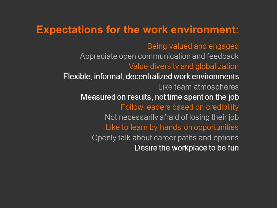 Expectations for the work environment: