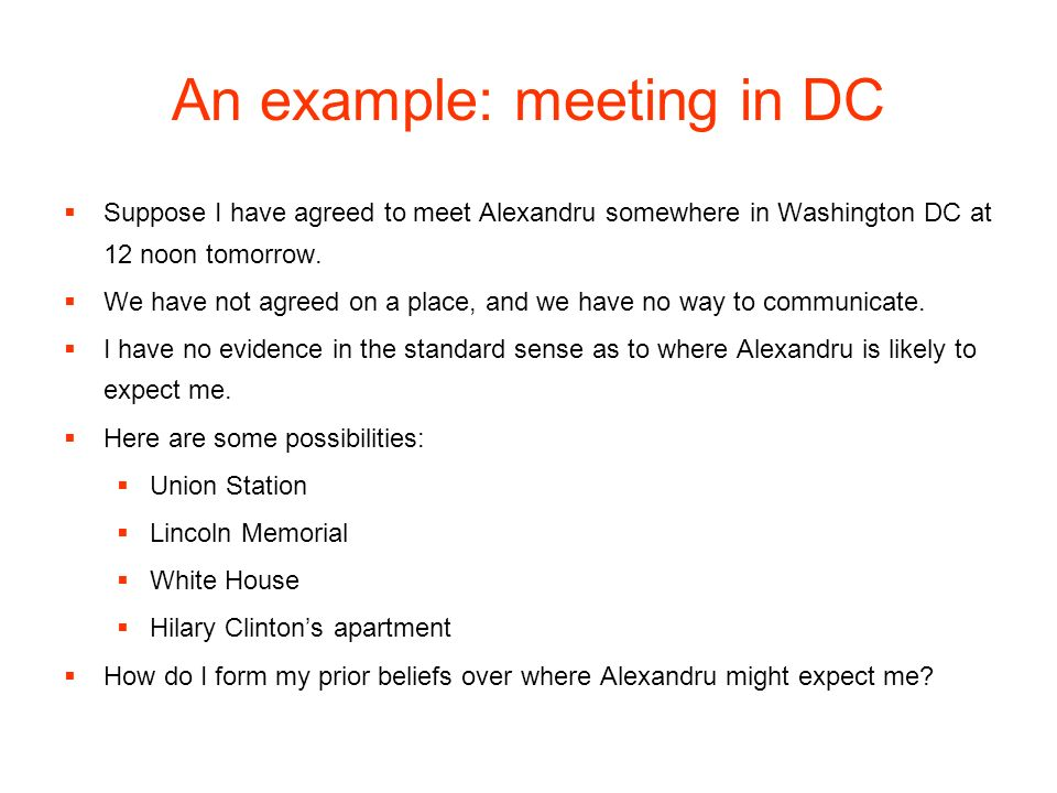 An example: meeting in DC