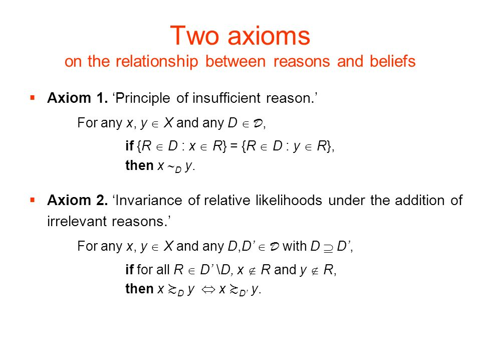 Two axioms on the relationship between reasons and beliefs