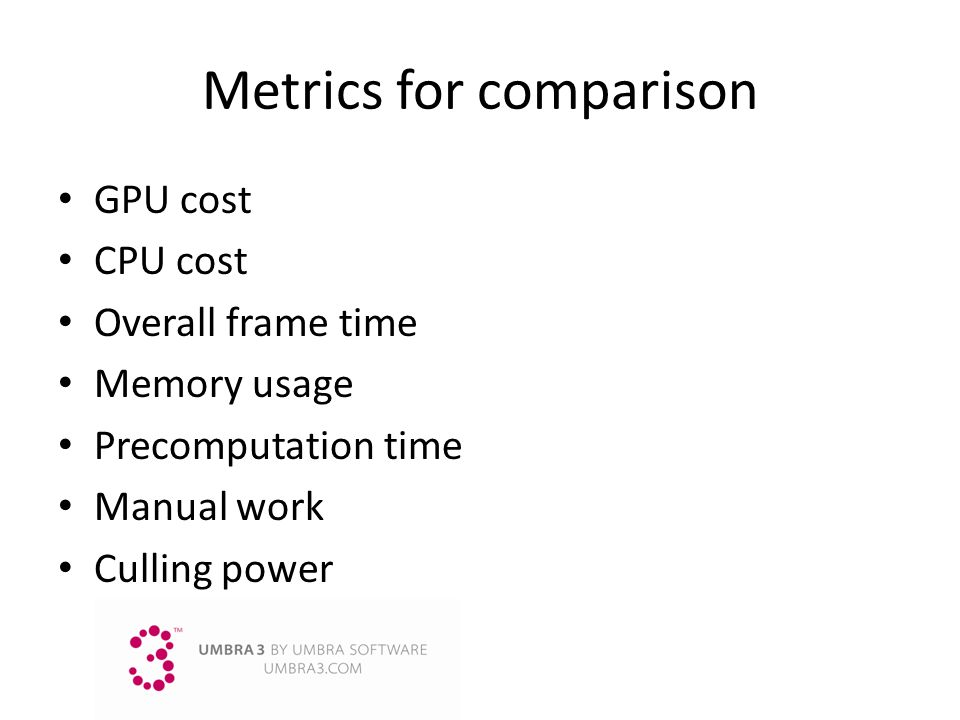 Metrics for comparison