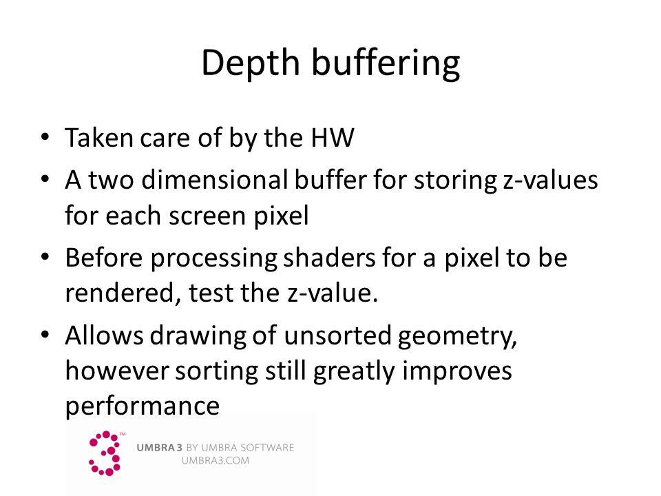 Depth buffering Taken care of by the HW