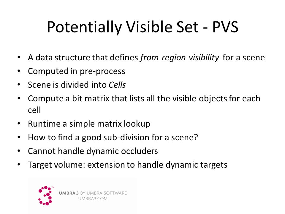 Potentially Visible Set - PVS