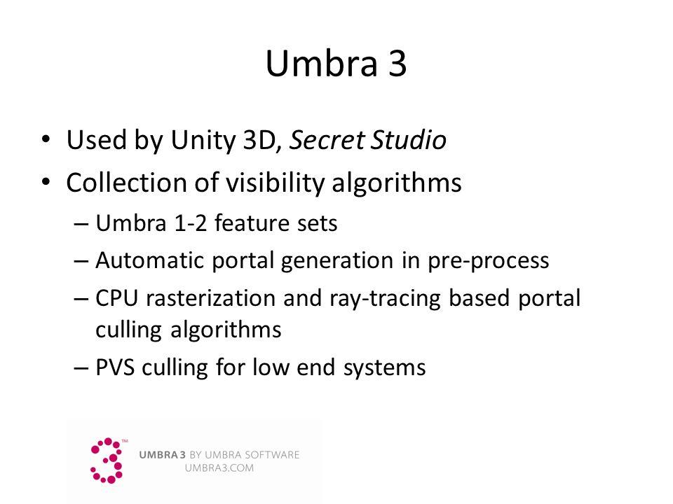 Umbra 3 Used by Unity 3D, Secret Studio