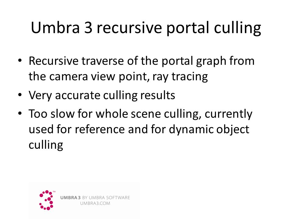 Umbra 3 recursive portal culling