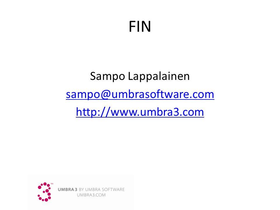 Sampo Lappalainen sampo@umbrasoftware.com http://www.umbra3.com