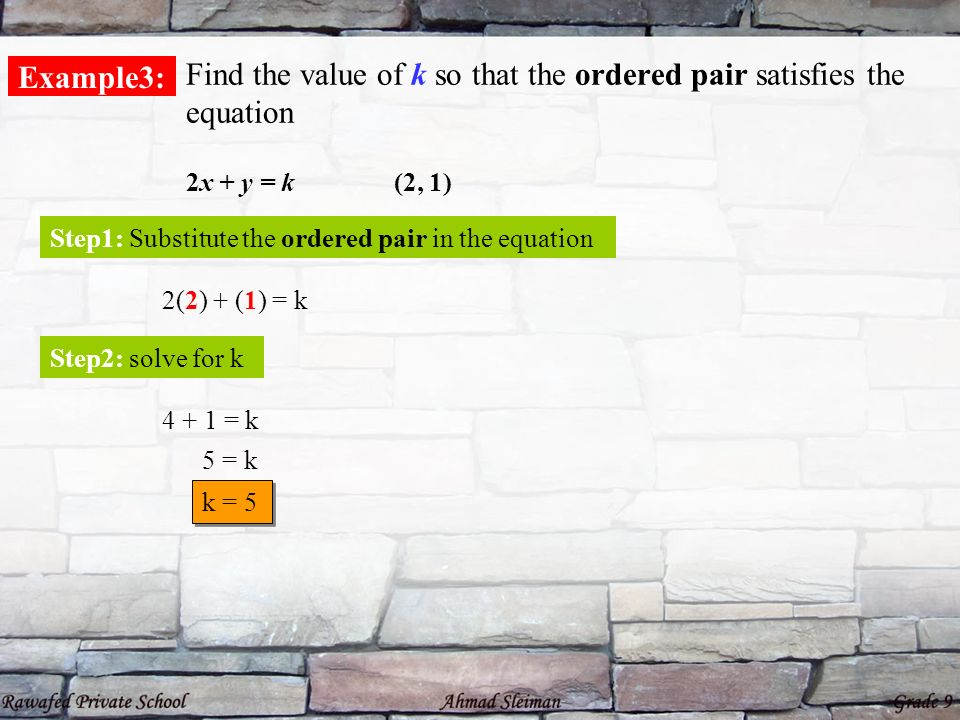 Find the value of k so that the ordered pair satisfies the equation