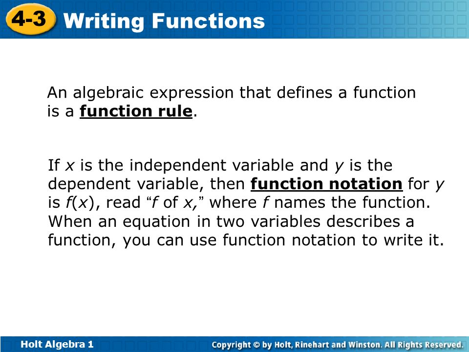 An algebraic expression that defines a function is a function rule.