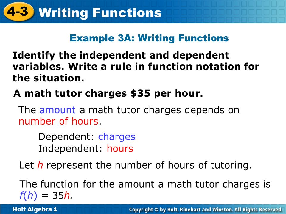 Example 3A: Writing Functions