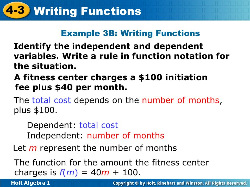 Example 3B: Writing Functions