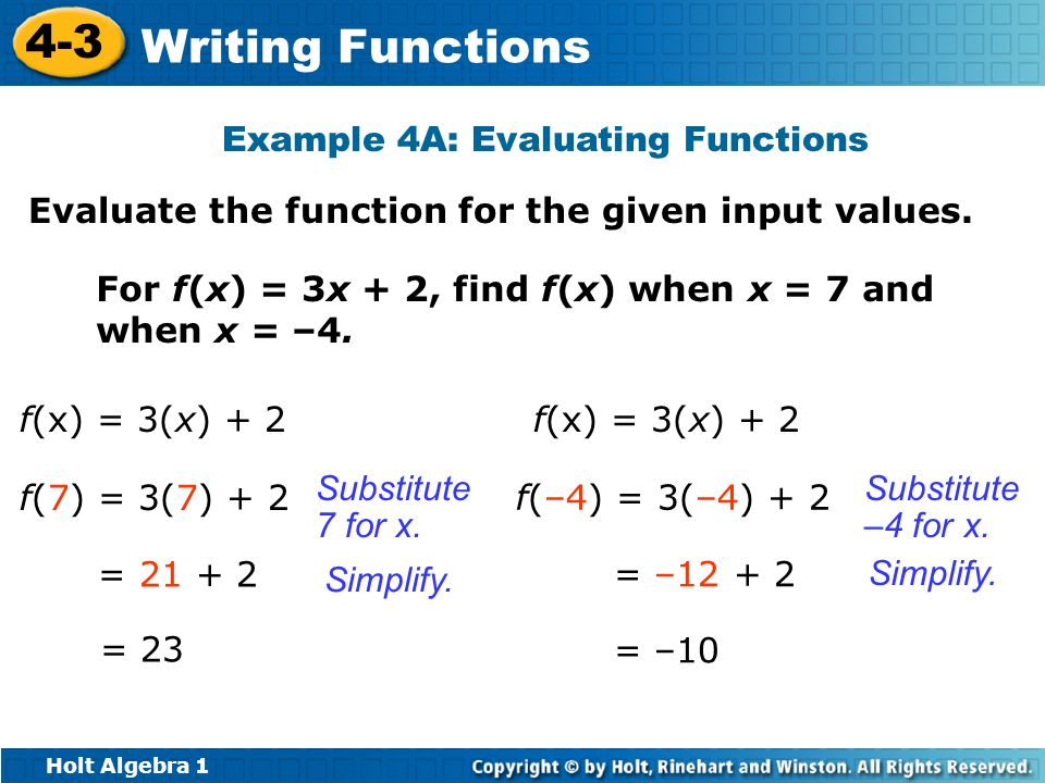 Example 4A: Evaluating Functions