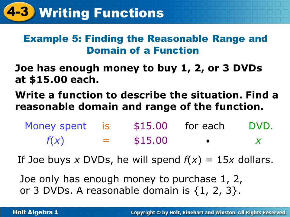 Example 5: Finding the Reasonable Range and Domain of a Function