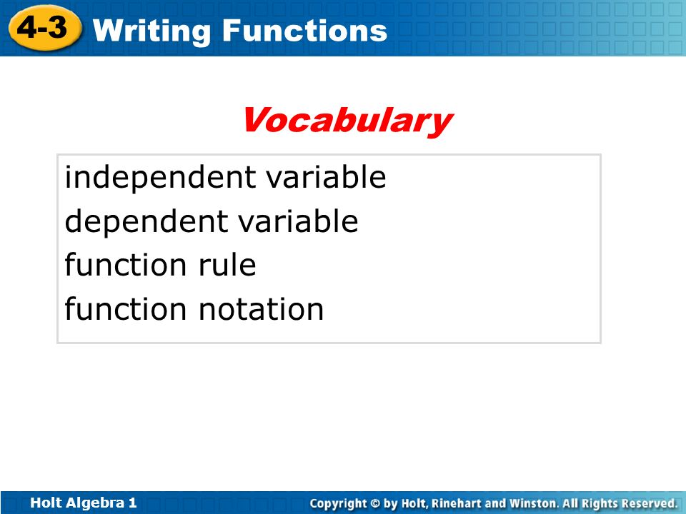 Vocabulary independent variable dependent variable function rule