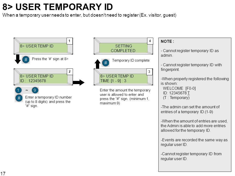 8> USER TEMPORARY ID When a temporary user needs to enter, but doesn't need to register (Ex. visitor, guest)
