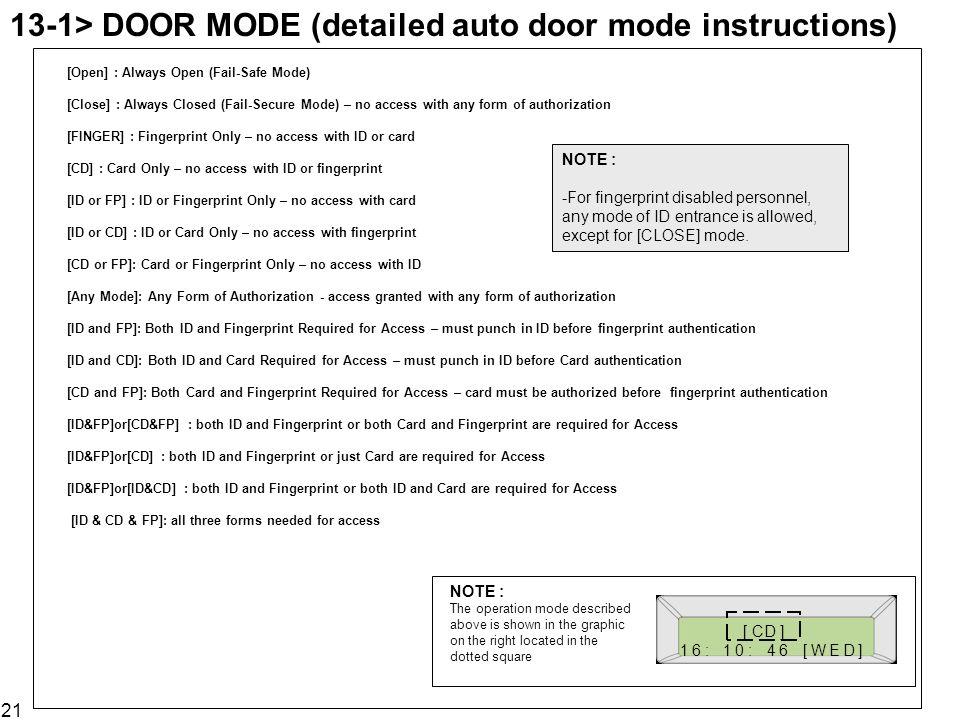 13-1> DOOR MODE (detailed auto door mode instructions)