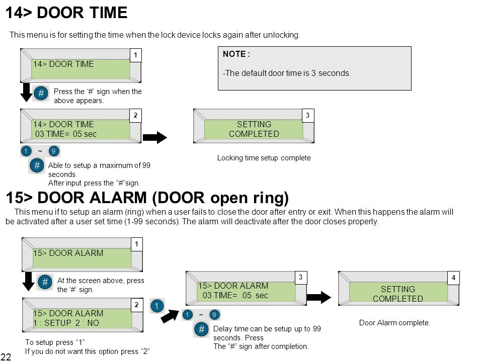 14> DOOR TIME This menu is for setting the time when the lock device locks again after unlocking.
