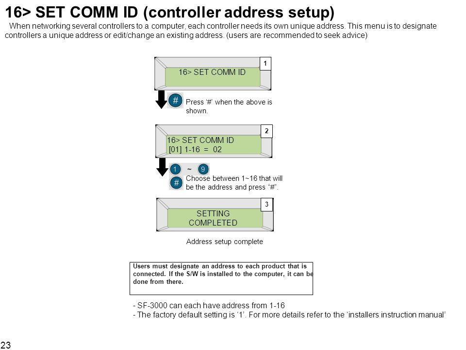 16> SET COMM ID (controller address setup) When networking several controllers to a computer, each controller needs its own unique address. This menu is to designate controllers a unique address or edit/change an existing address. (users are recommended to seek advice)