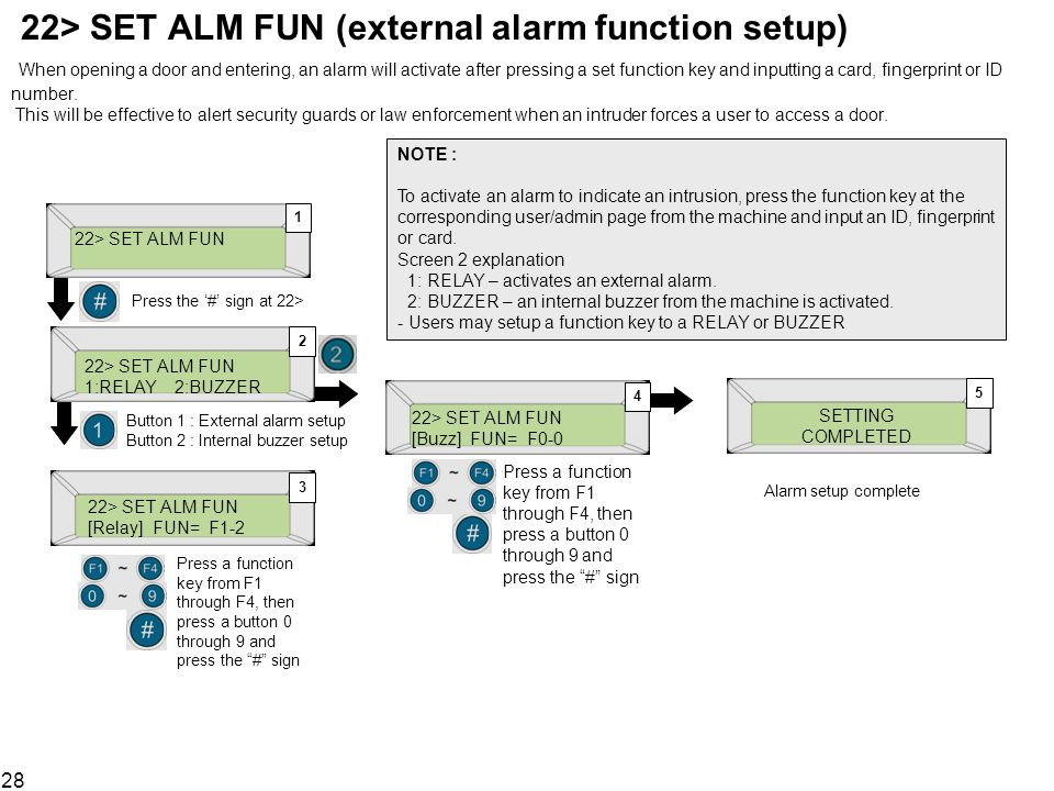 22> SET ALM FUN (external alarm function setup) When opening a door and entering, an alarm will activate after pressing a set function key and inputting a card, fingerprint or ID number. This will be effective to alert security guards or law enforcement when an intruder forces a user to access a door.