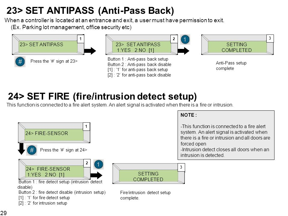 23> SET ANTIPASS (Anti-Pass Back) When a controller is located at an entrance and exit, a user must have permission to exit. (Ex. Parking lot management, office security etc)